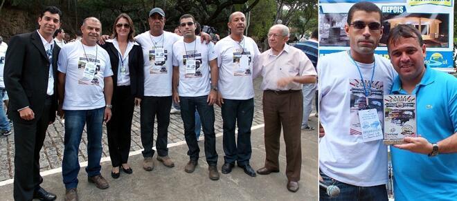 À esquerda, os fundadores da AVA-PS (todos de camiseta), junto à equipe da Prefeitura. À direita, Daniel e o prefeito municipal, Márcio