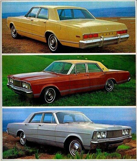 A nova linha Galaxie 1976. A partir do alto: Galaxie 500, LTD e Landau