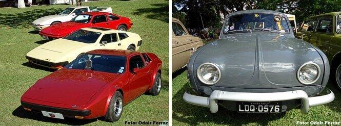 À esquerda, Miuras de diversos modelos, tendo o Sport 1977 premiado em primeiro plano. À direita, o Willys Teimoso, versão popular do Gordini